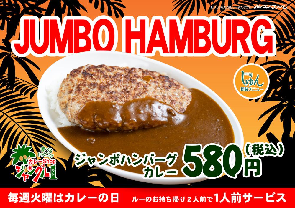 ジャンボハンバーグカレー580円